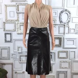 Vintage Dark Brown Leather A-Line Skirt